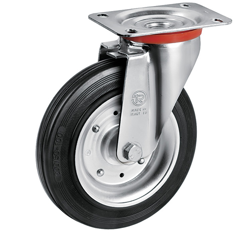 Swivel castors with solid rubber wheels, sheet steel rim and roller bearing