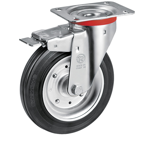 Swivel castors with DIRECTIONAL lock with black solid rubber wheel