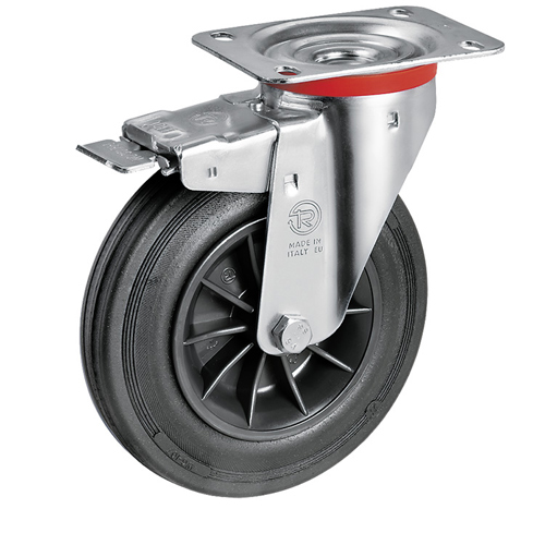 Swivel castors with total brake, with solid rubber wheels and plain bearing
