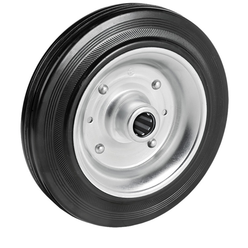 Solid rubber wheel with sheet steel rim and roller bearing - Ø 80 - 280 mm