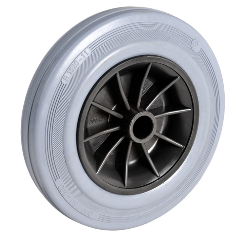 Grey solid rubber wheel with synthetic rim and plain bearing - Ø 80 - 250 mm