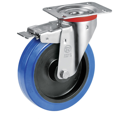 Blue Wheel Swivel castors with DIRECTIONAL LOCK elastic solid rubber wheels