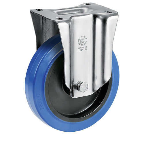 Blue Wheel Fixed castors with elastic solid rubber wheels + roller bearing