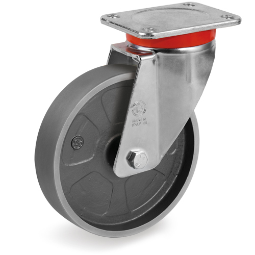 Swivel castors with cast iron solid wheels with ball bearing
