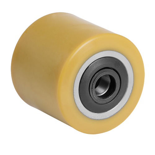 Polyurethane pallet rollers with labyrinth sealed ball bearings.