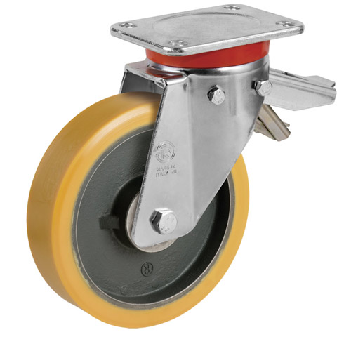 STRONG Swivel castors with total brake and polyurethane wheel, with ball bearing