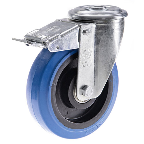 Blue Wheel Swivel castors with total brake single bolt hole,elastic solid rubber