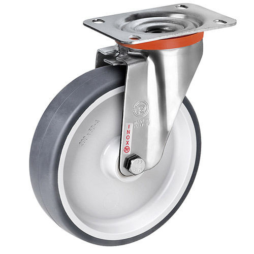 INOX Swivel castors with thermoplastic elastomer wheels and plain bearing