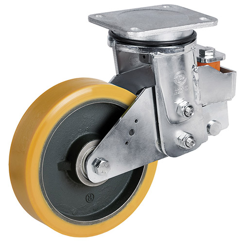 Spring-loaded heavy duty swivel castor with cast polyurethane wheel