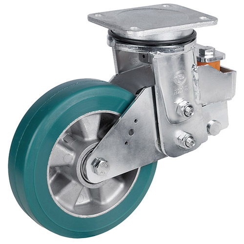 Spring-loaded heavy duty swivel castor with supersoft polyurethane wheel