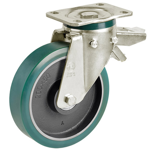 Swivel castor with total brake, Supersoft-Polyurethane wheel and ball bearing