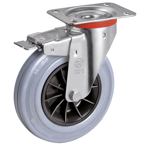 Swivel castors with grey solid rubber wheels, with DIRECTIONAL LOCK