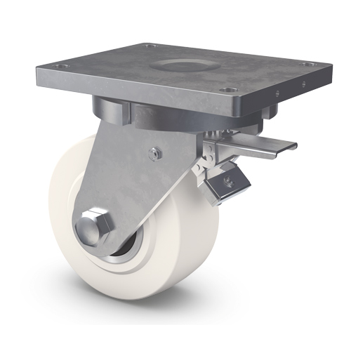 ROBUSTA Swivel castors with rear total brake, cast polyamide wheel and BB