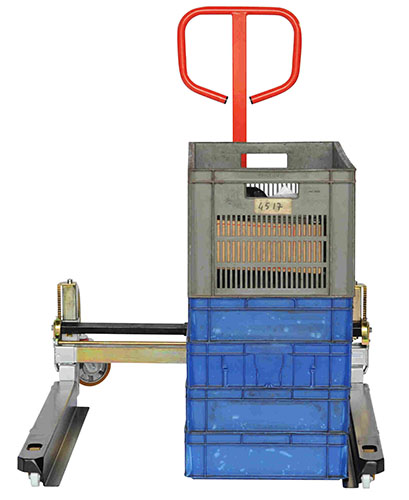 PALBAC pallet truck with adjustable forks, lifts boxes directly from the floor.