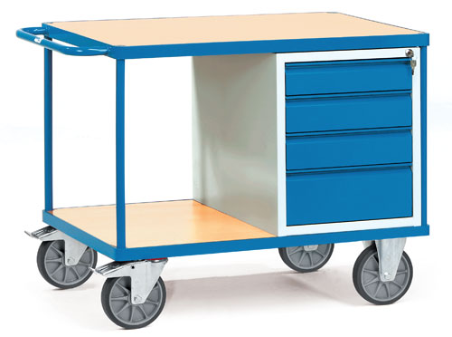Heavy Load Workshop Cart with 2 shelves + lockable drawers, Load cap.600 kg