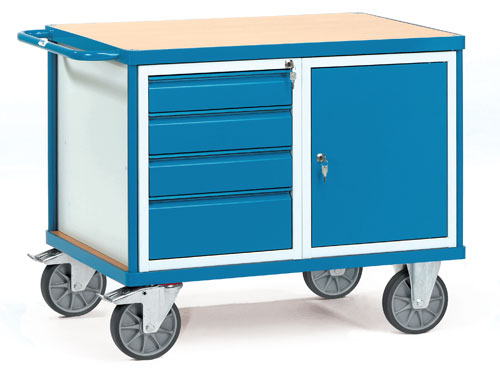 Heavy Load Workshop Cart with 1 shelf and lockable drawers/door