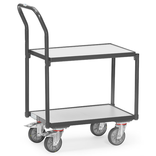ESD euro box roller with 2 shelves ans push bar - conductive