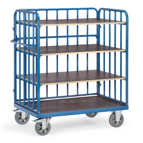Shelved trolleys with 4 shelves and 3 side panels, height 1583mm