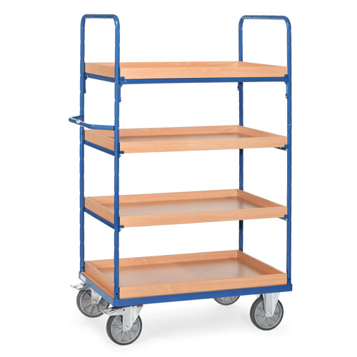 Shelved trolley with 4 boxes made of special wood boards, extra hight 1800mm