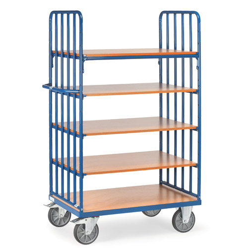 Shelved trolley with 5 shelves, extra hight 1800mm