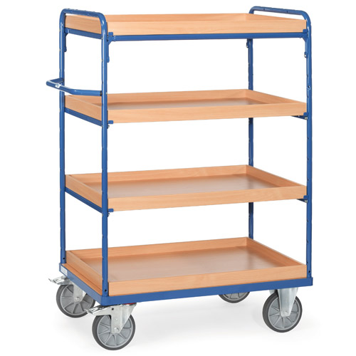 Shelved trolley with 4 boxes made of special wood boards