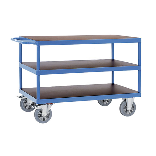 Heavy duty table trolly MultiVario with 3 shelves