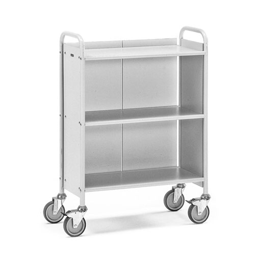 Office Book trolley with 3 shelves and rear wall - 4 non-marking swivel castors