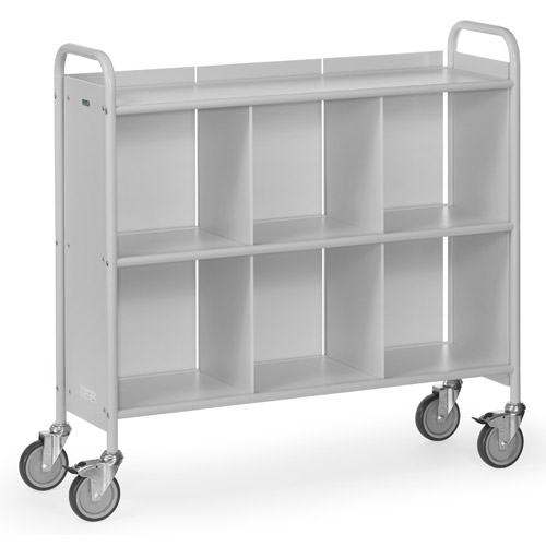 Office book trolley with 3 shelves, 1 back wall and 2 separating plates