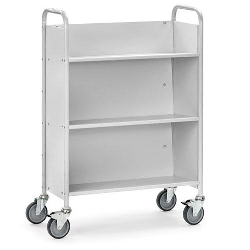 Office Table truck with 3 inclined shelves - with 4 non-marking swivel castors