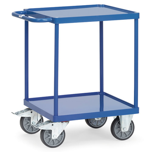 Table top carts with steel sheet trays, with rim 10mm high