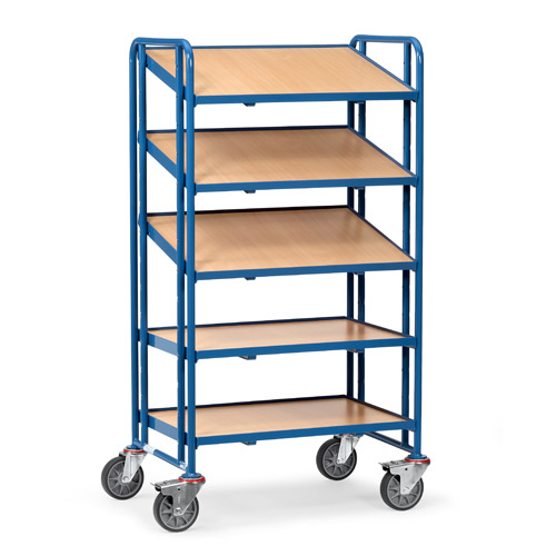 Euro box cart 820x610mm with 5 timber platforms, rim 13 mm high