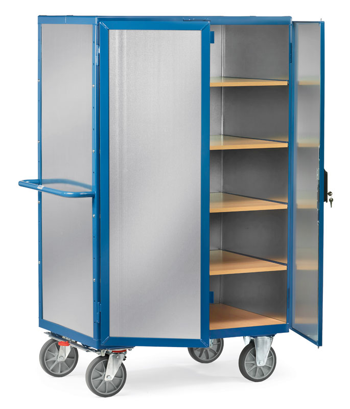Box Cart made of galvanized sheet steel, with total brake - available in 2 sizes