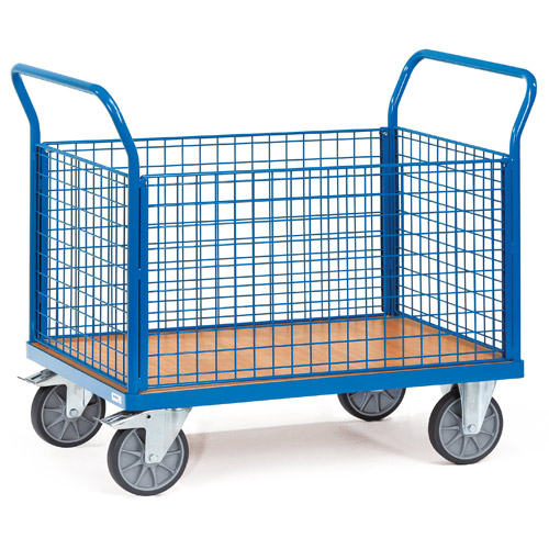 Closed platform carts, ends and sides made of wire lattice