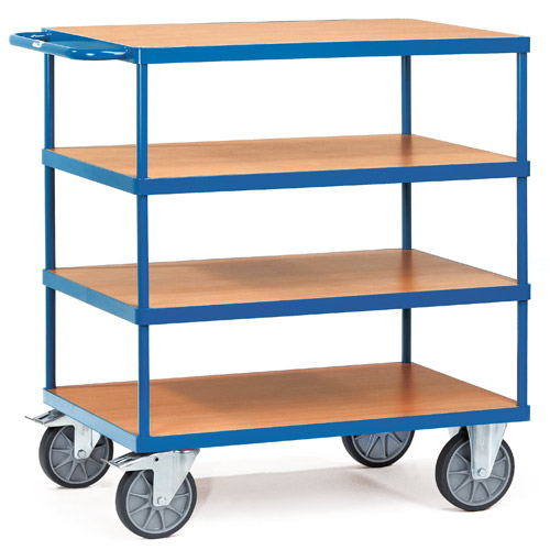Table trolleys 600 kg, with 4 platforms, timber material boards, beech grain