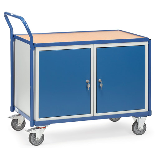 Light workshop cart with 2 cupboards, load capacity 300 kg