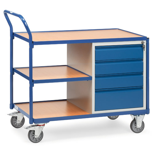 Light workshop cart with 4 drawers and 3 shelves, load capacity 300 kg