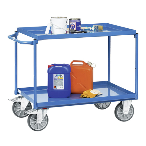 Table trolleys with 2 sheet steel platforms with trays oil-tight, rim 40mm high