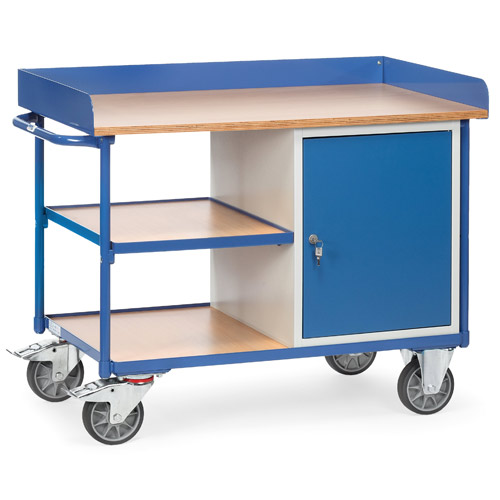 Workshop cart with 1 cupboard and 3 shelves, with skirting