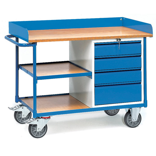 Workshop cart with skirting, 4 drawers and 3 shelves