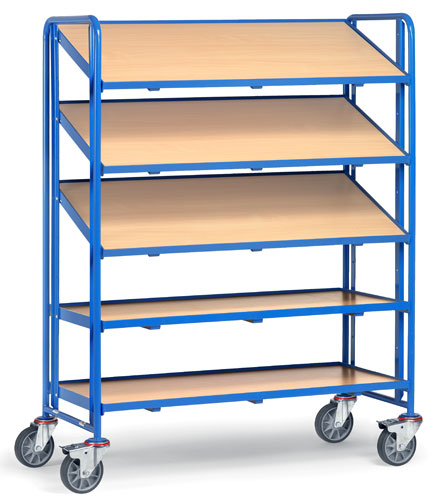 Euro Box Cart with 5 timber platforms 1240x610mm, rim 10mm high