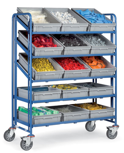 Euro Box Cart with 15 plastic boxes 600x400x145mm