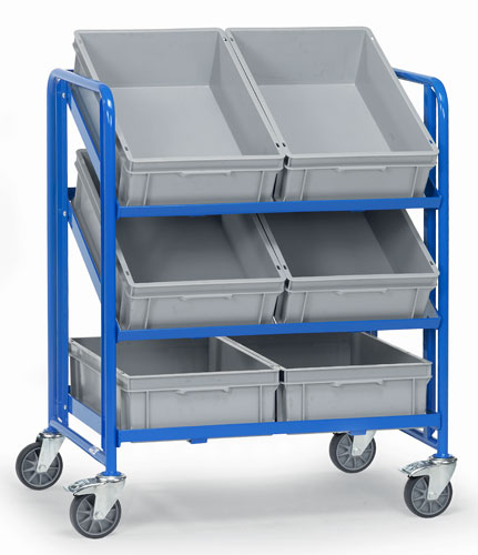Euro Box Cart with 6 plastic boxes 600x400x145mm