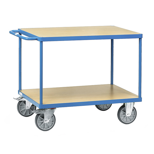 Table trolleys 500-600 kg, with 2 platforms, timber material boards, beech grain