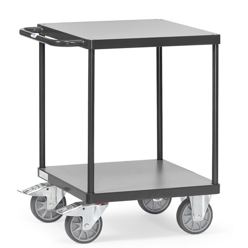 Heavy table top carts 500 kg, platform size 600x600mm, with 2 shelves
