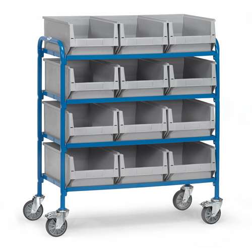 Storage trolley 940x470mm with 4 timber shelves and 12 boxes