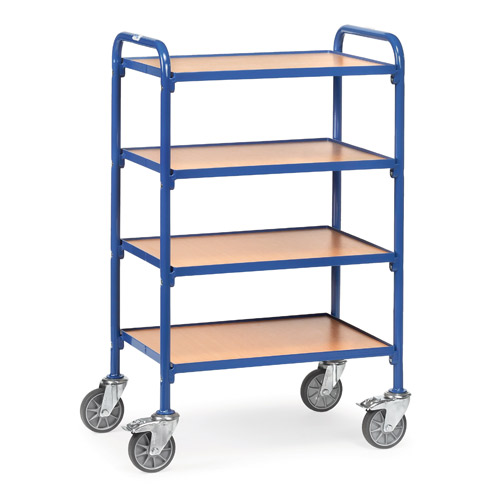 Storage trolley 630x470mm with 4 timber shelves