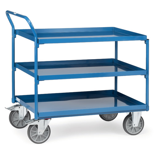 Table trolleys with 3 sheet steel platforms with trays oil-tight, rim 40mm high