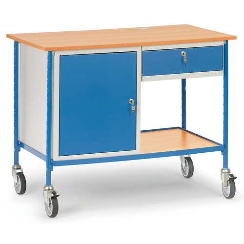 Rolling table with table board, lockable keybord drawer and cupboard