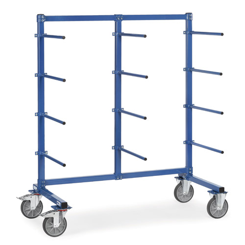 Trolley with 12 one-side carrier spars, PVC hose