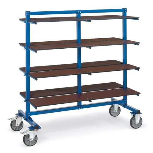 Shelves for trolleys with carrier spars, width 370 mm